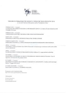 PERCORSI DI FORMAZIONE PER DOCENTI E OPERATORI SOCIO-EDUCATIVI 2016